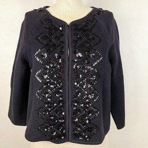 Elevenses 100% Wool Embellished Sequin Jacket
